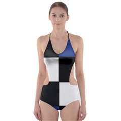 Black White Navy Blue Modern Square Color Block Pattern Cut-Out One Piece Swimsuit
