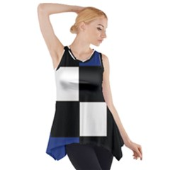 Black White Navy Blue Modern Square Color Block Pattern Side Drop Tank Tunic