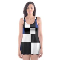 Black White Navy Blue Modern Square Color Block Pattern Skater Dress Swimsuit