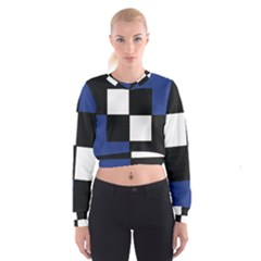 Black White Navy Blue Modern Square Color Block Pattern Women s Cropped Sweatshirt