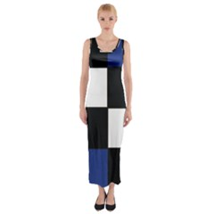 Black White Navy Blue Modern Square Color Block Pattern Fitted Maxi Dress