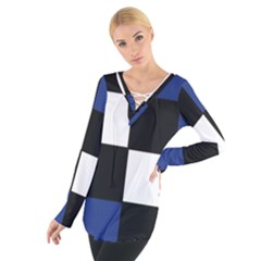 Black White Navy Blue Modern Square Color Block Pattern Women s Tie Up Tee