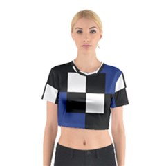 Black White Navy Blue Modern Square Color Block Pattern Cotton Crop Top