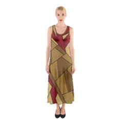 Modern Art Urban Jungle Tower Brown Red Sleeveless Maxi Dress
