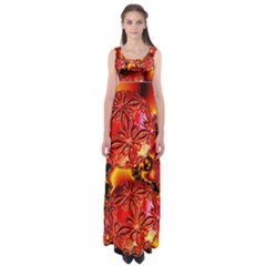 Flame Delights, Abstract Red Orange Empire Waist Maxi Dress