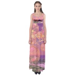 Glorious Skies, Abstract Pink And Yellow Dream Empire Waist Maxi Dress