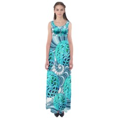 Teal Sea Forest, Abstract Underwater Ocean Empire Waist Maxi Dress