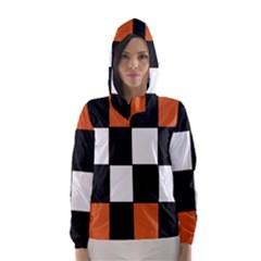 Black White Red Modern Orange Color Block Pattern Hooded Wind Breaker (Women)