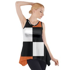 Black White Red Modern Orange Color Block Pattern Side Drop Tank Tunic