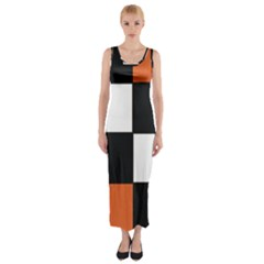 Black White Red Modern Orange Color Block Pattern Fitted Maxi Dress