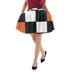 Black White Red Modern Orange Color Block Pattern A-Line Pocket Skirt