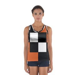 Black White Red Modern Orange Color Block Pattern Tops