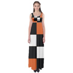 Black White Red Modern Orange Color Block Pattern Empire Waist Maxi Dress