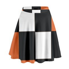 Black White Red Modern Orange Color Block Pattern High Waist Skirt