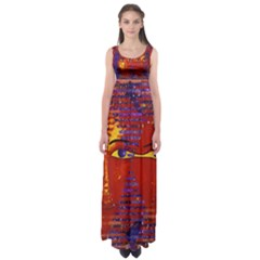 Conundrum Iii, Abstract Purple & Orange Goddess Empire Waist Maxi Dress