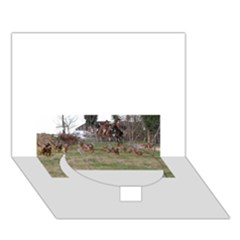 Bloodhounds Working Circle Bottom 3D Greeting Card (7x5)