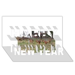 Bloodhounds Working Happy New Year 3D Greeting Card (8x4)