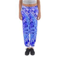 Semi Circles Abstract Geometric Modern Art Blue  Women s Jogger Sweatpants