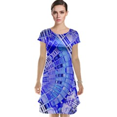 Semi Circles Abstract Geometric Modern Art Blue  Cap Sleeve Nightdress
