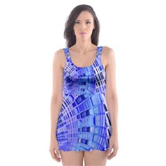 Semi Circles Abstract Geometric Modern Art Blue  Skater Dress Swimsuit