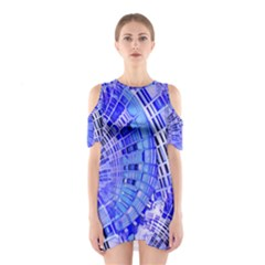 Semi Circles Abstract Geometric Modern Art Blue  Cutout Shoulder Dress