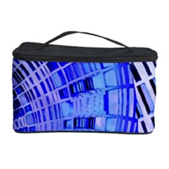 Semi Circles Abstract Geometric Modern Art Blue  Cosmetic Storage Cases
