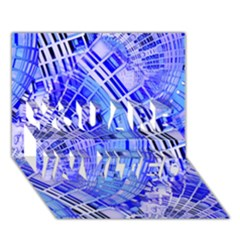 Semi Circles Abstract Geometric Modern Art Blue  YOU ARE INVITED 3D Greeting Card (7x5)