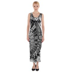 Semi Circles Abstract Geometric Modern Art Fitted Maxi Dress