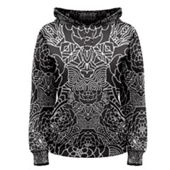 Mariager - Bold Flower Design - Black And White Women s Pullover Hoodie