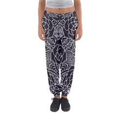 Mariager - Bold Flower Design - Black And White Women s Jogger Sweatpants