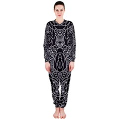 Mariager - Bold Flower Design - Black And White OnePiece Jumpsuit (Ladies)