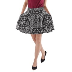 Mariager   Bold Flower Design   Black And White A Line Pocket Skirt