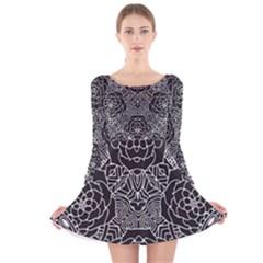 Mariager - Bold Flower Design - Black And White Long Sleeve Velvet Skater Dress