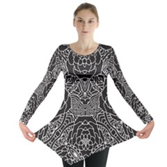 Mariager - Bold Flower Design - Black And White Long Sleeve Tunic
