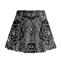 Mariager - Bold Flower Design - Black And White Mini Flare Skirt