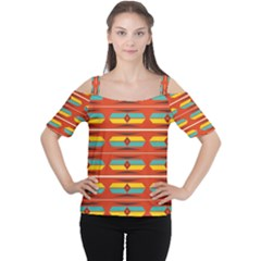 Shapes in retro colors pattern                        Women s Cutout Shoulder Tee