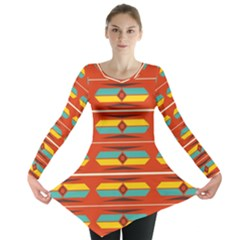 Shapes In Retro Colors Pattern                        Long Sleeve Tunic