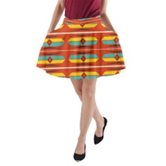 Shapes in retro colors pattern                        A-Line Pocket Skirt