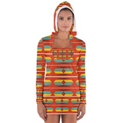 Shapes In Retro Colors Pattern                        Women s Long Sleeve Hooded T Shirt