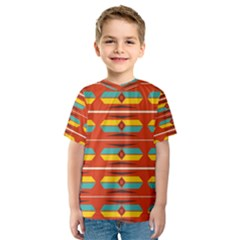 Shapes in retro colors pattern                        Kid s Sport Mesh Tee