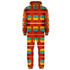 Shapes in retro colors pattern                        Hooded Jumpsuit (Men)