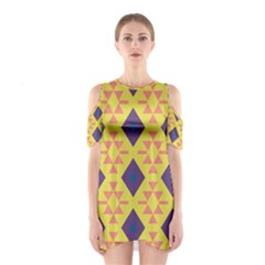 Tribal shapes and rhombus pattern                        Women s Cutout Shoulder Dress