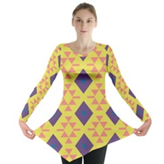 Tribal Shapes And Rhombus Pattern                        Long Sleeve Tunic