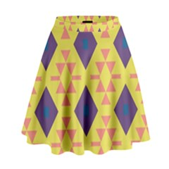 Tribal shapes and rhombus pattern                          High Waist Skirt