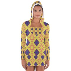 Tribal Shapes And Rhombus Pattern                        Women s Long Sleeve Hooded T Shirt