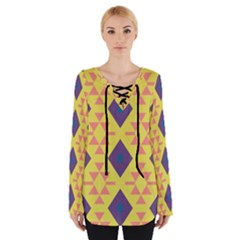 Tribal Shapes And Rhombus Pattern                         Women s Tie Up Tee