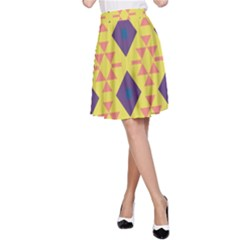 Tribal shapes and rhombus pattern                        A-line Skirt