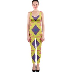 Tribal shapes and rhombus pattern                        OnePiece Catsuit
