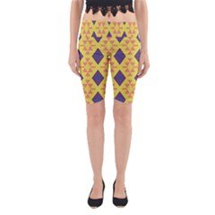 Tribal Shapes And Rhombus Pattern                        Yoga Cropped Leggings