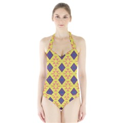 Tribal shapes and rhombus pattern                        Women s Halter One Piece Swimsuit